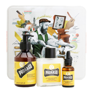 Proraso Wood and Spice sada na vousy (šampon 200ml+balzám 100ml+olej 30ml)