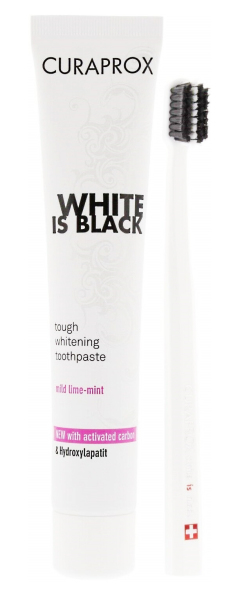 Curaprox White is Black sada - pasta 90 ml+ zubní kartáček CS 5460 Ultra Soft